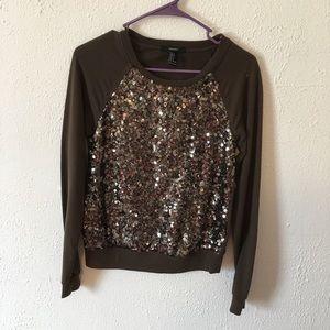 Forever 21 brown sequin sweater size small